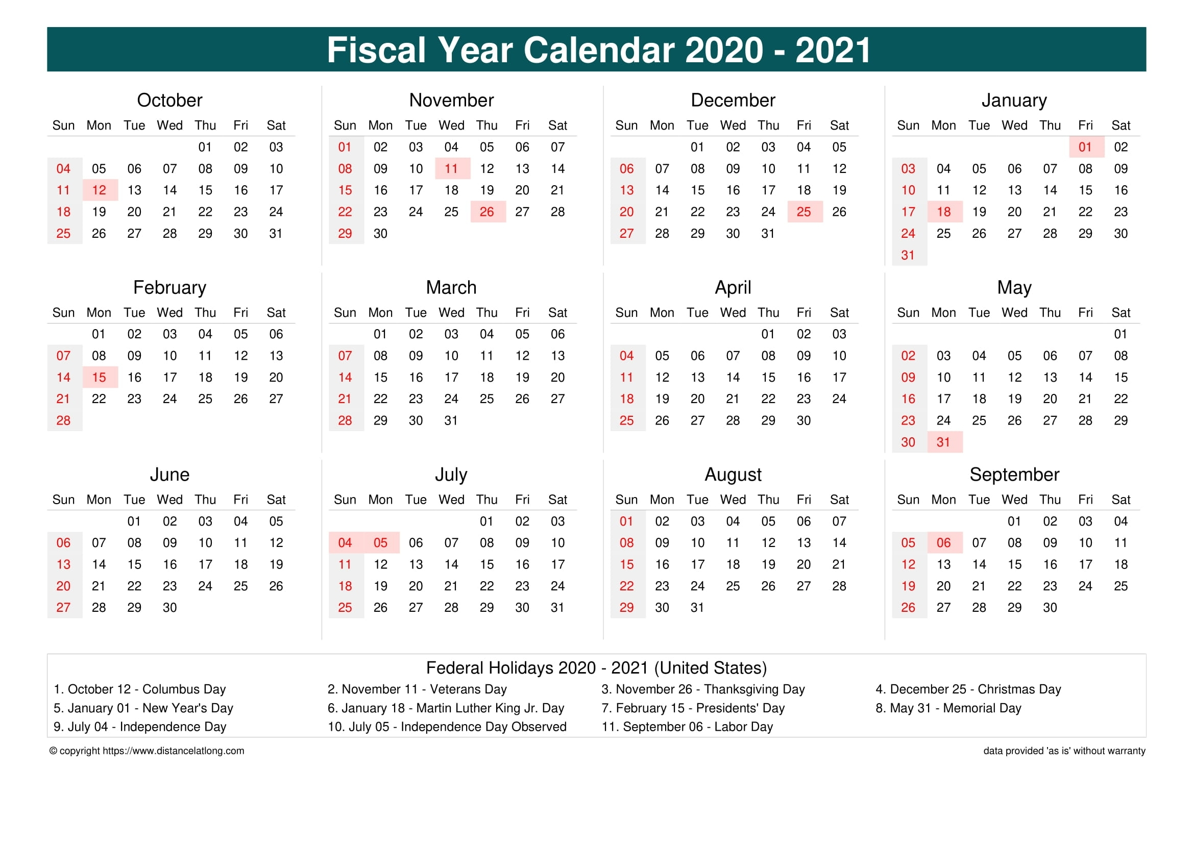 2021 United States Fiscal Calendar United States Fiscal