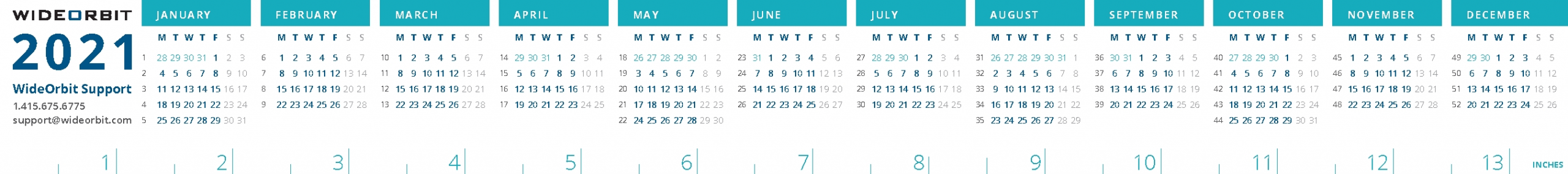 2021 Wideorbit Broadcast Calendar Strip
