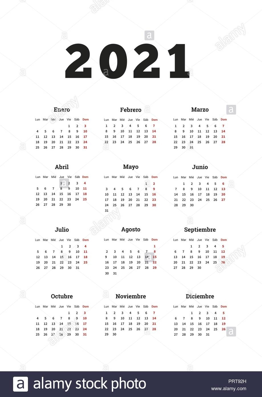 2021 Year Simple Calendar In Spanish, A4 Size Vertical Sheet