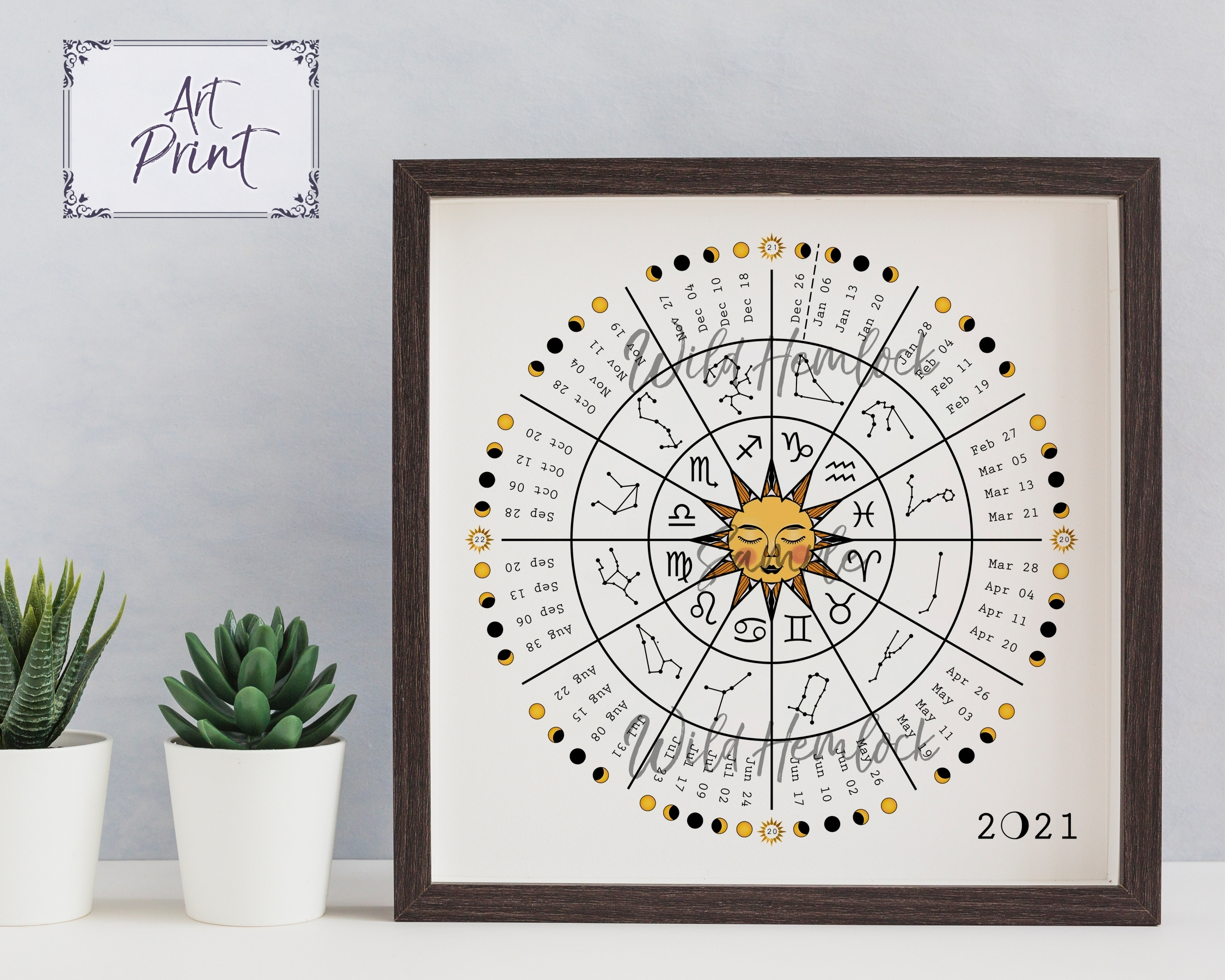 2021 Zodiac Wheel Astrology Moon Phase Calendar