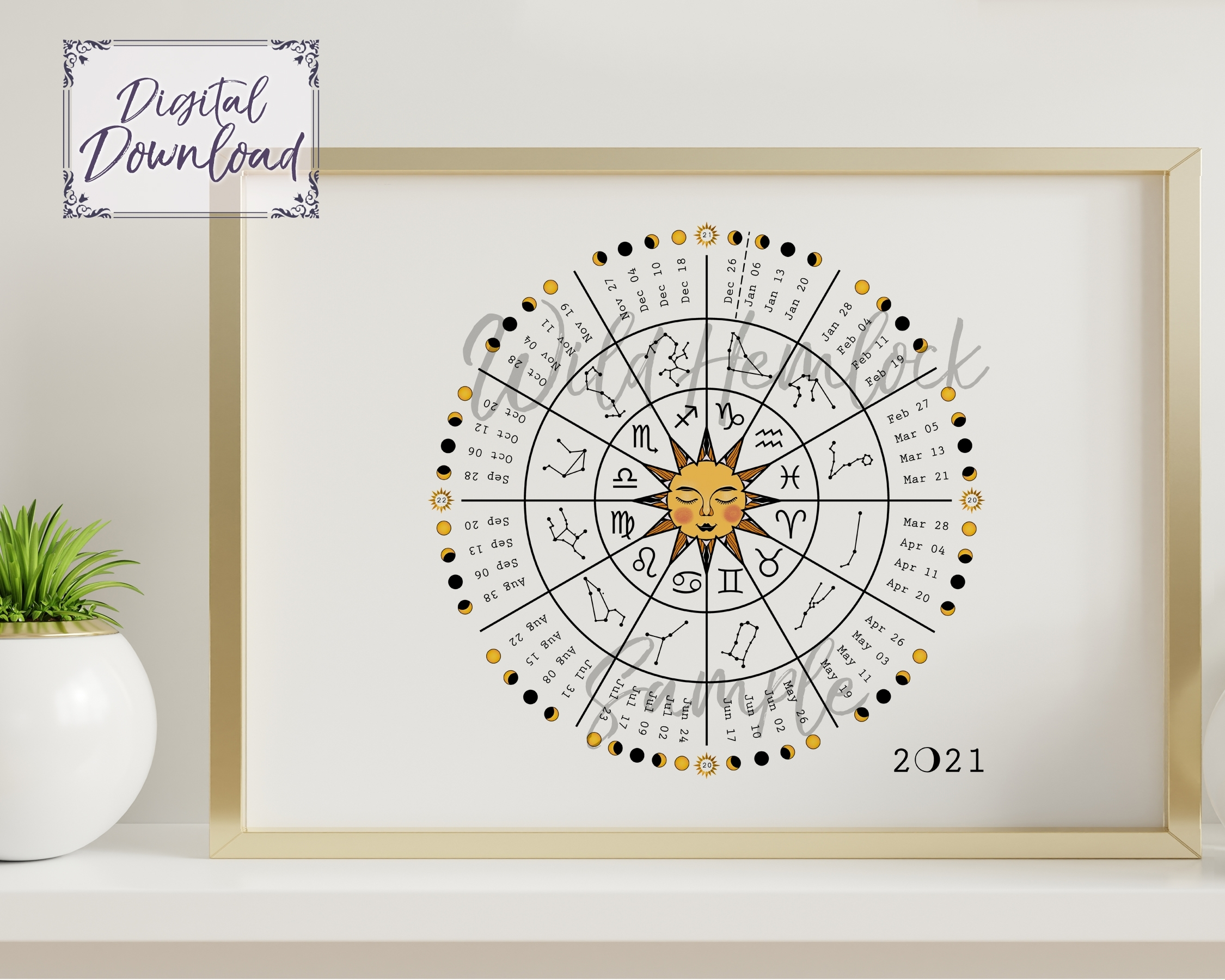 2021 Zodiac Wheel Moon Calendar Astrology Lunar Calendar