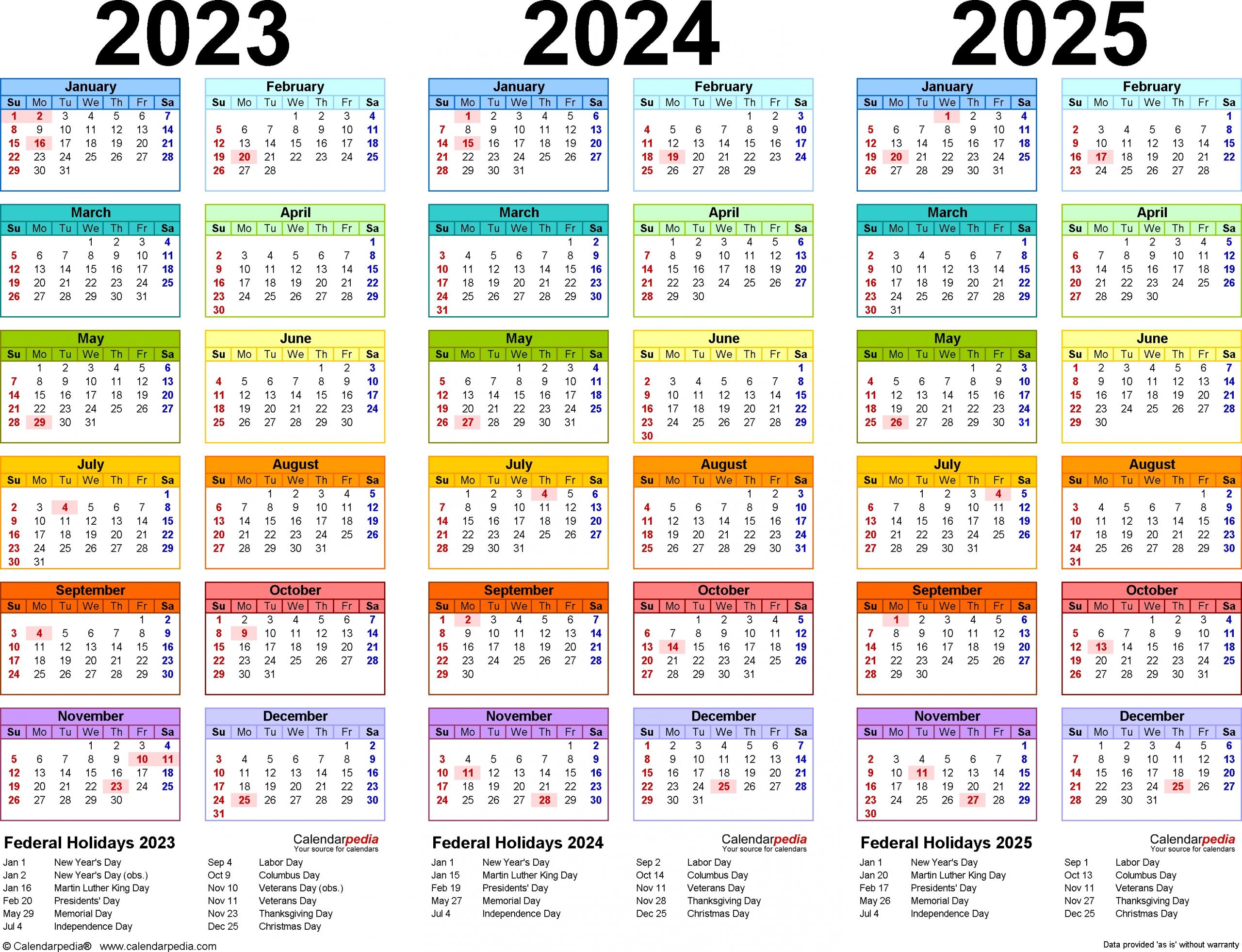 2023-2025 Three Year Calendar - Free Printable Pdf Templates