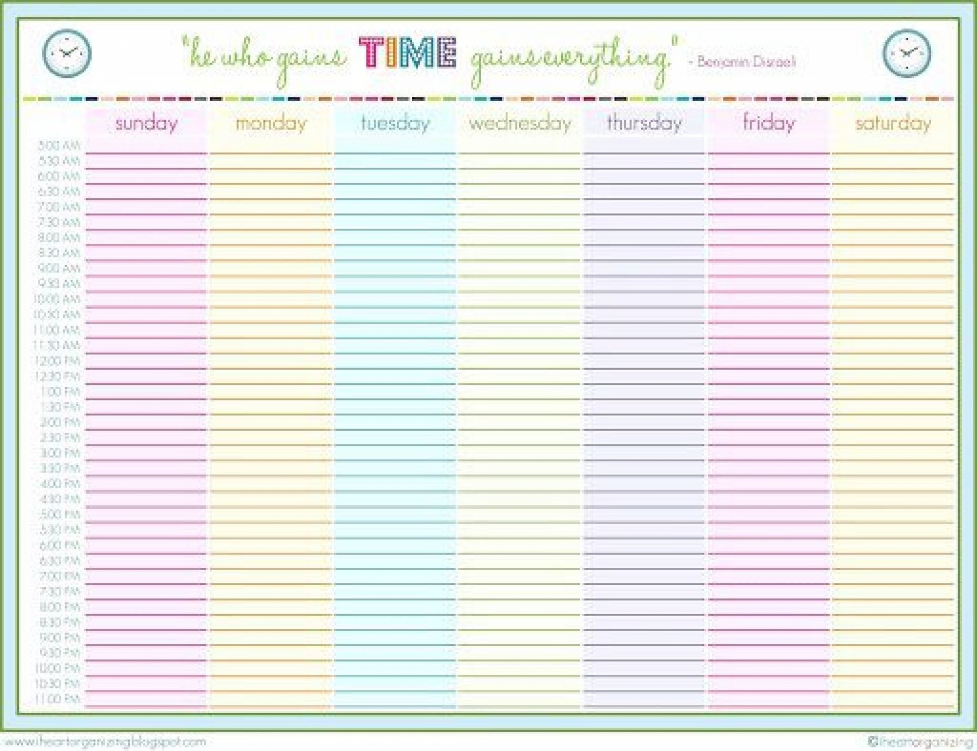 24 Hour Schedule Template ~ Addictionary