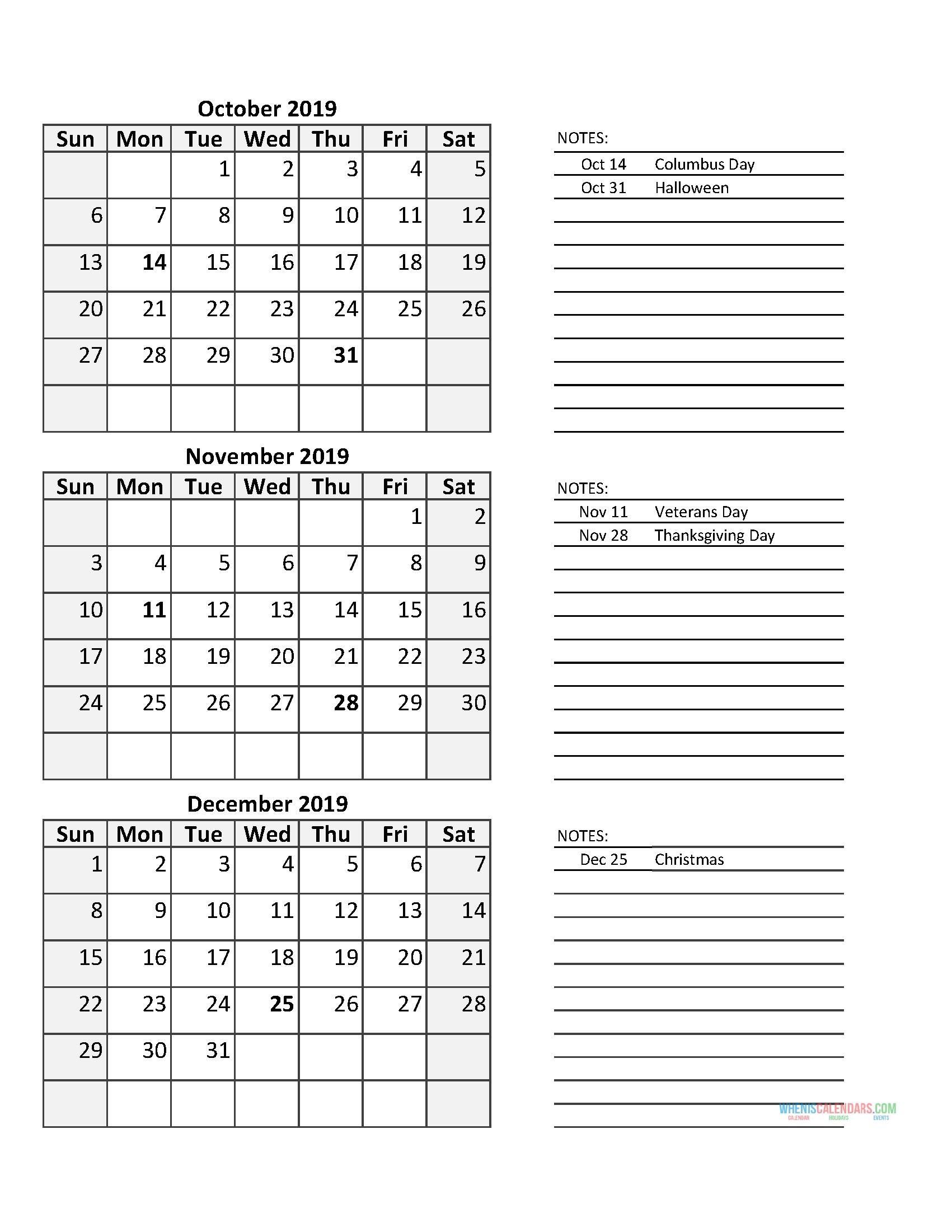 3 Month Calendar 2019 Quarterly Calendar Fourth Quarter 2019
