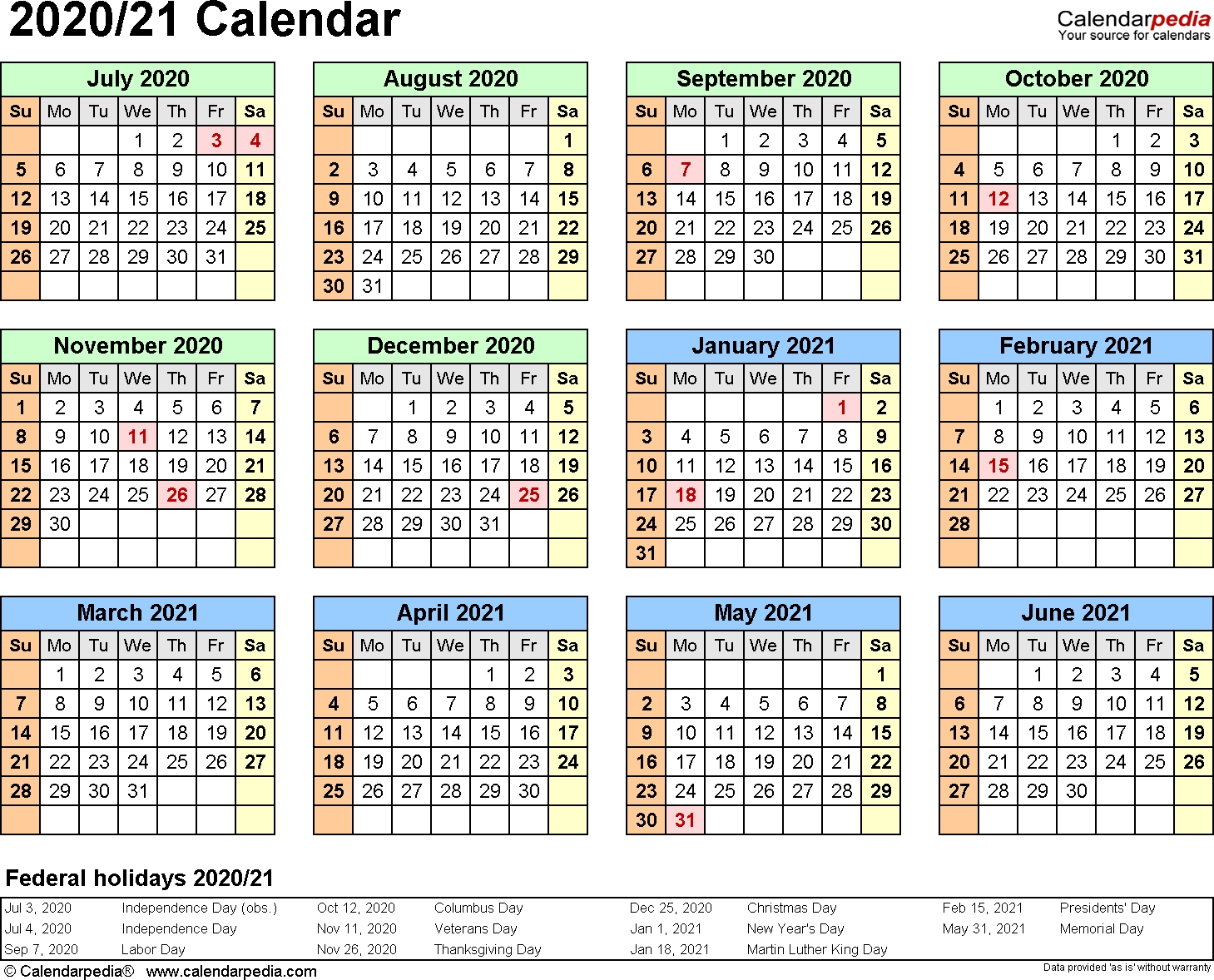 3 Year Calendar 2020 To 2021 Excel | Calendar For Planning