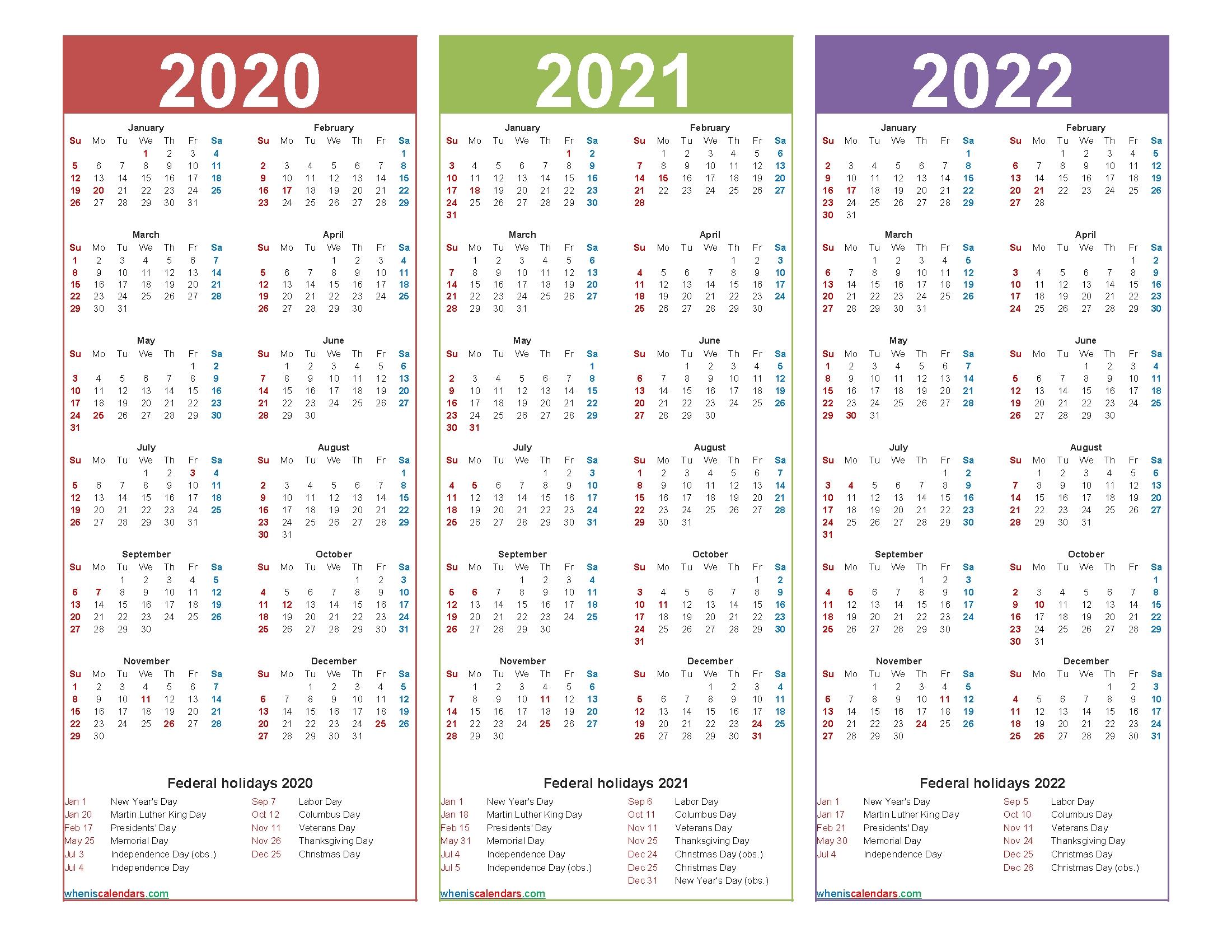 3 Year Calendar 2020 To 2022 Calendar With Holidays