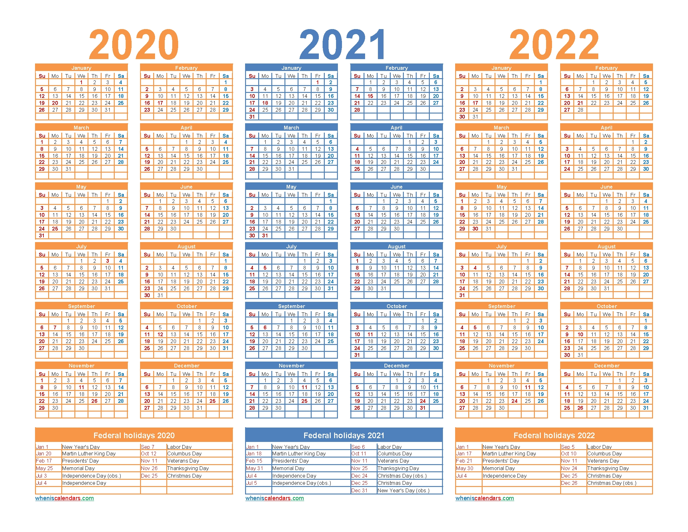 3 Year Calendar 2020 To 2022 Printable – Free 2020 And 2021