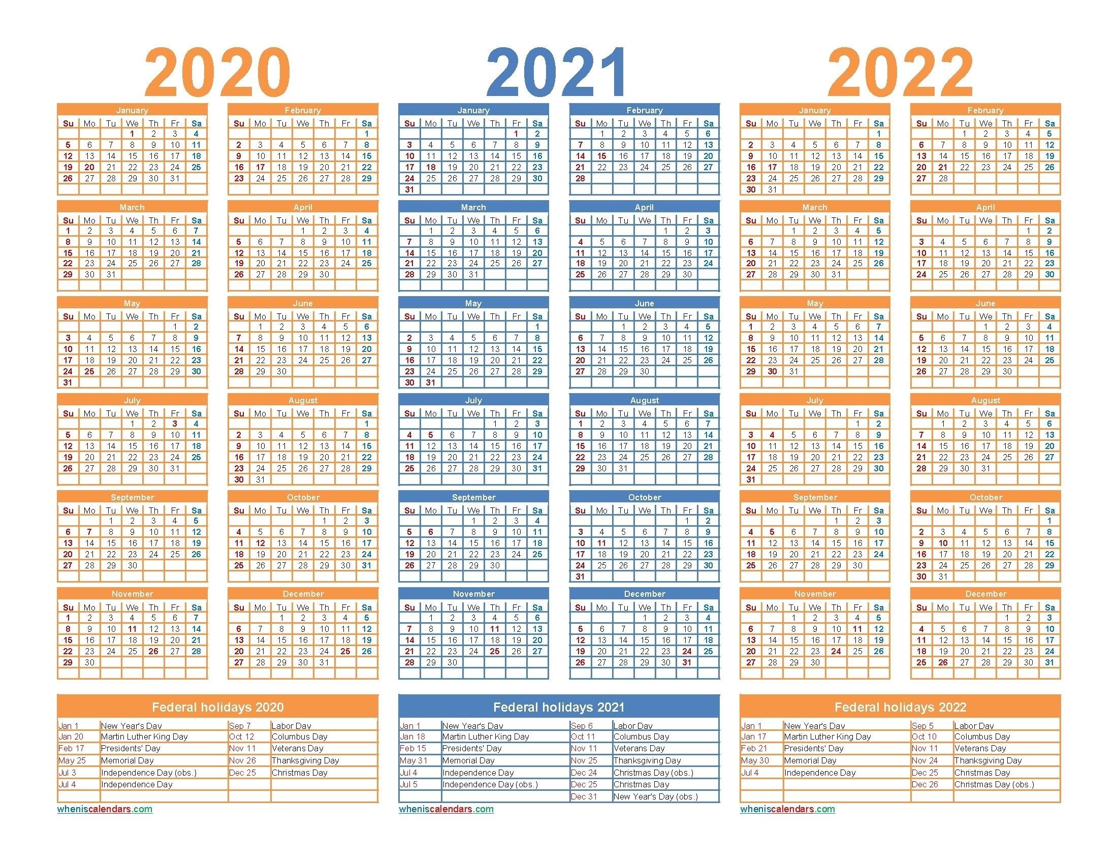 3 Year Calendar 2021 To 2023 In 2020 | Calendar Printables