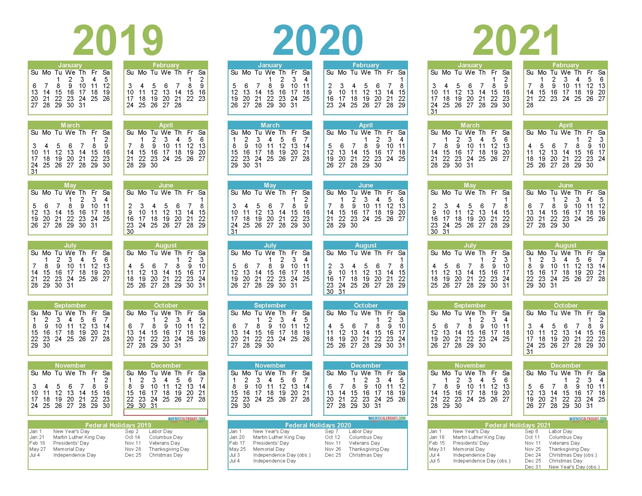 3 Year Calendar Printable 2019 2020 2021 Free Calendar