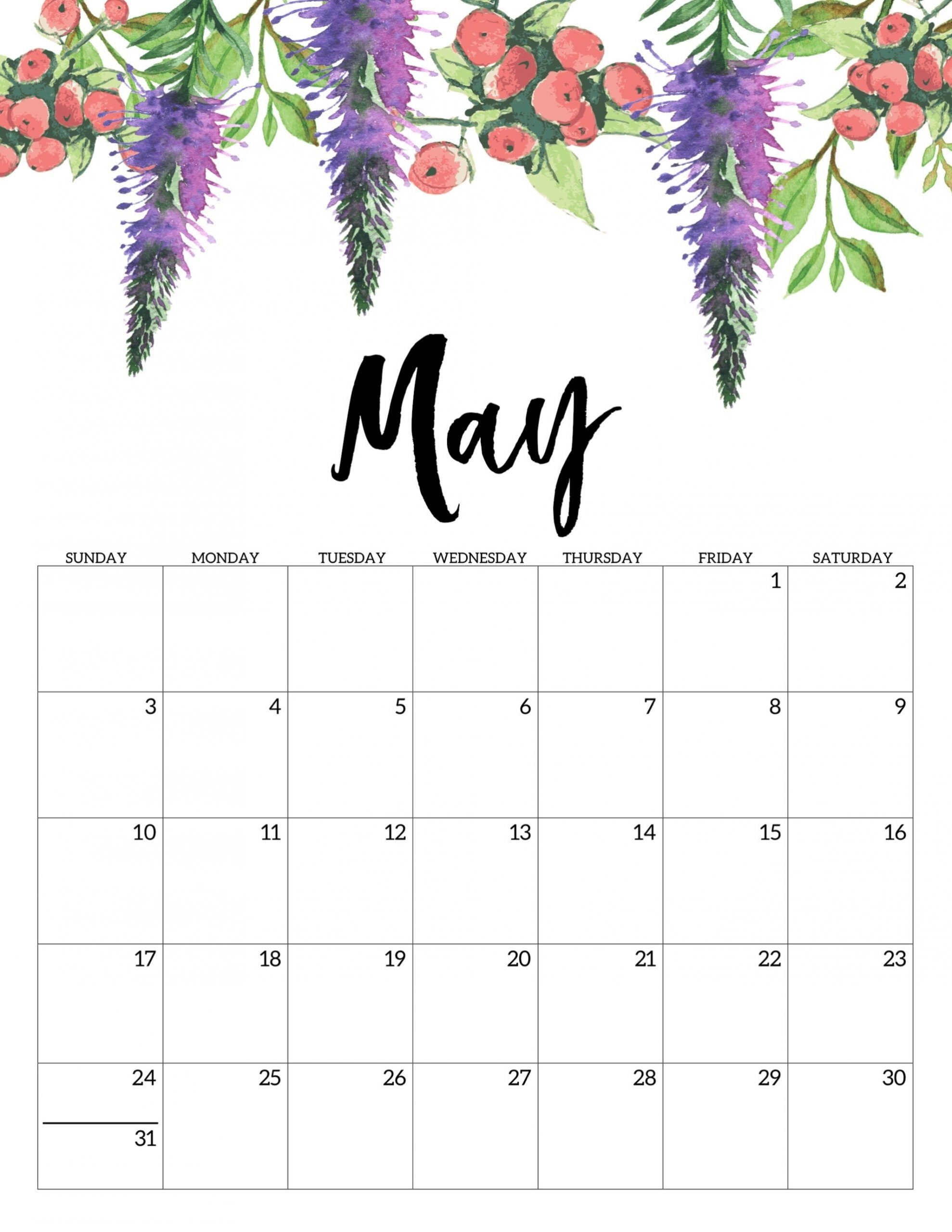 33 Gorgeous Printable Free May 2020 Calendars - Onedesblog