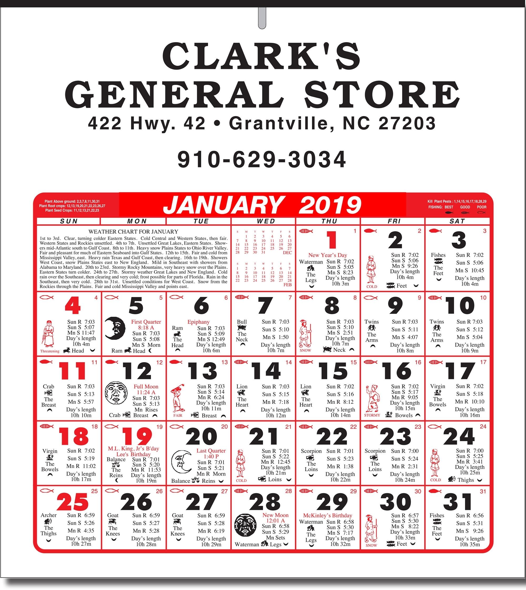6 Sheet Economical Almanac Calendar