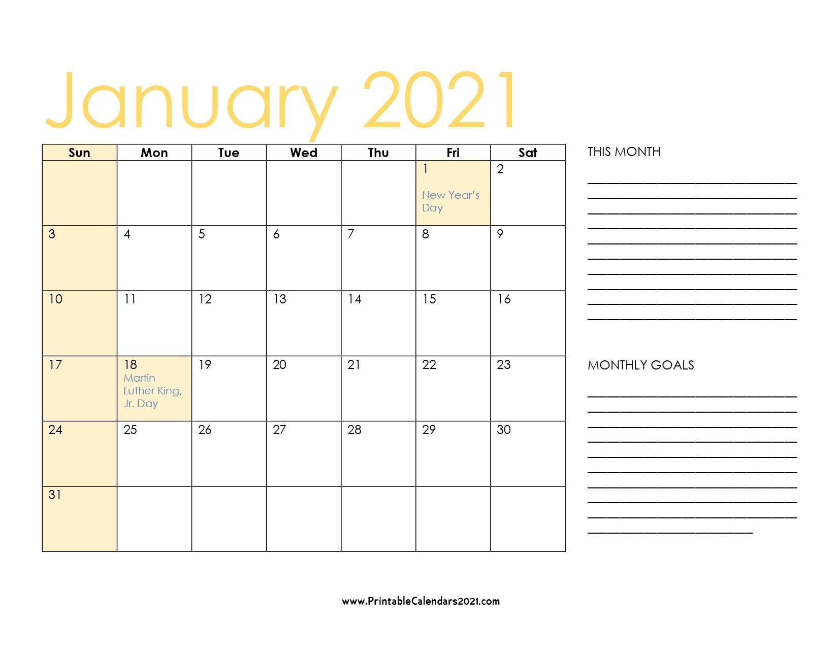 65+ January 2021 Calendar Printable, January 2021 Calendar