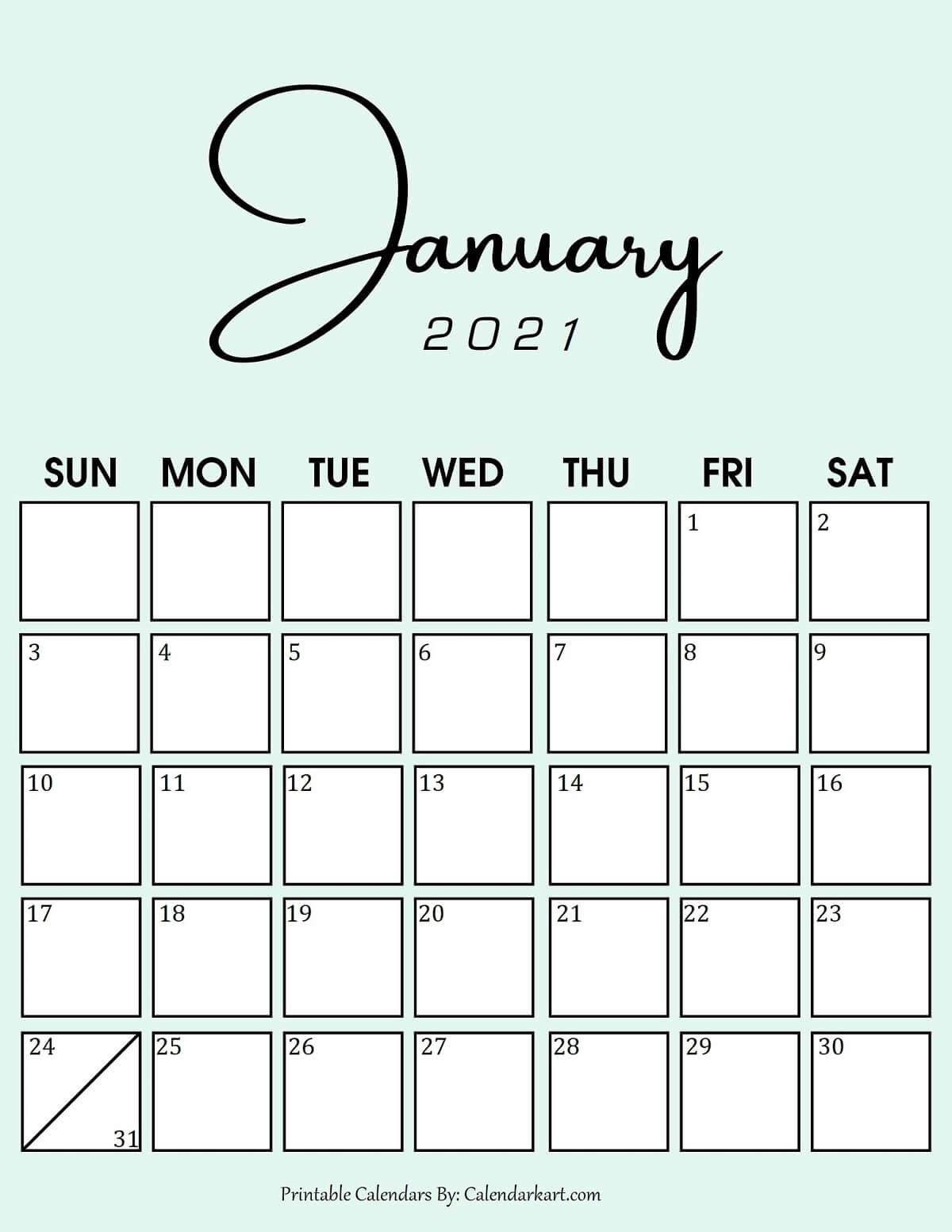 7 Cute And Stylish Free Printable January 2021 Calendar