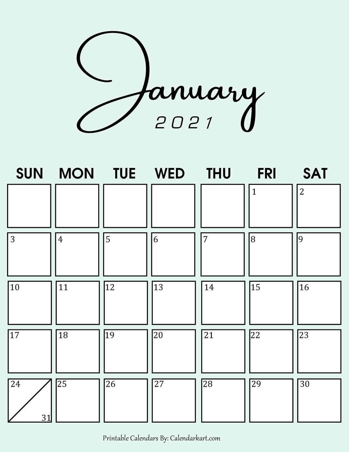 7 Cute And Stylish Free Printable January 2021 Calendar