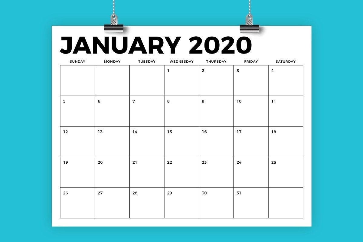 8.5 X 11 Inch Bold 2020 Calendar | Calendar Template