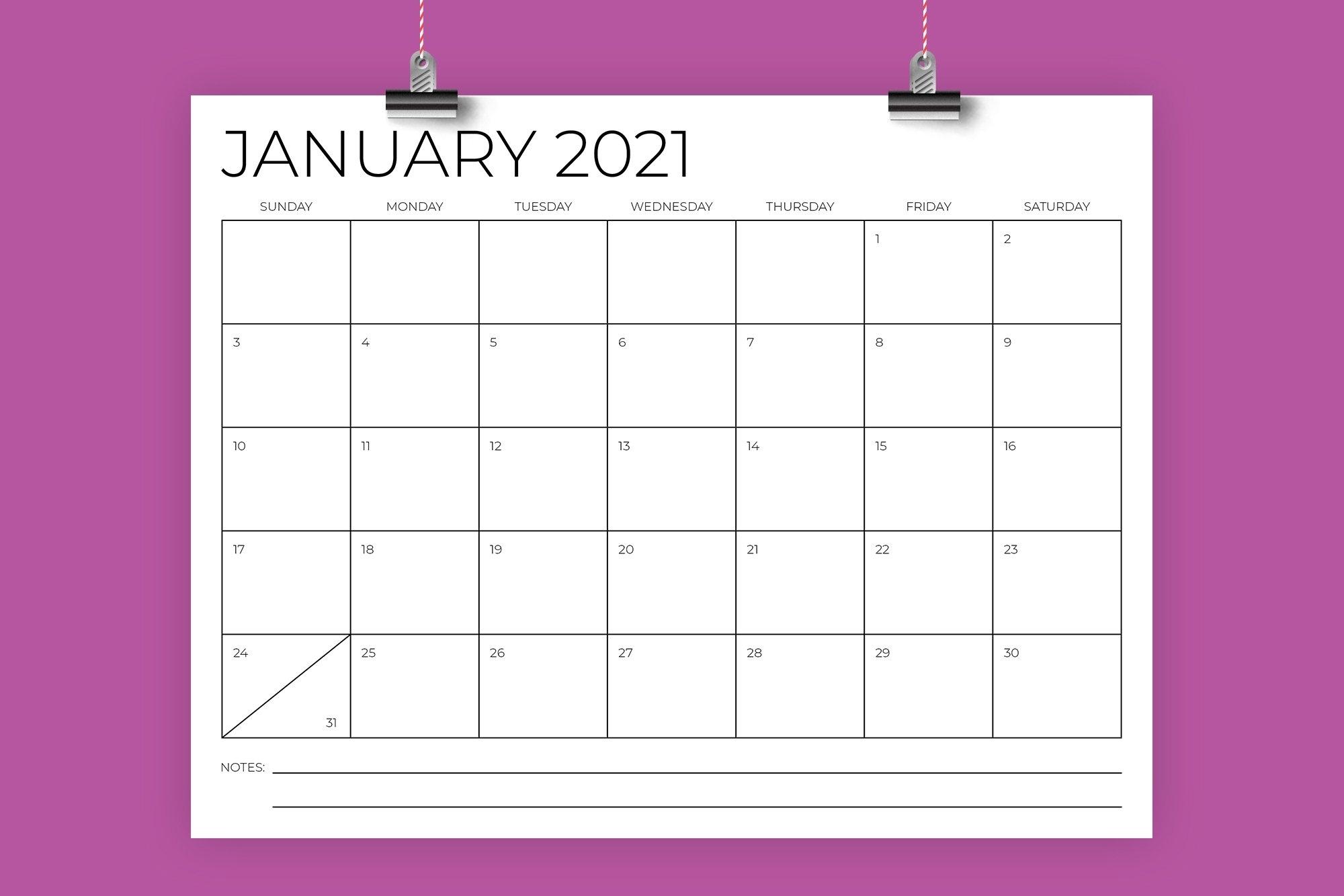 8.5 X 11 Inch Minimal 2021 Calendar