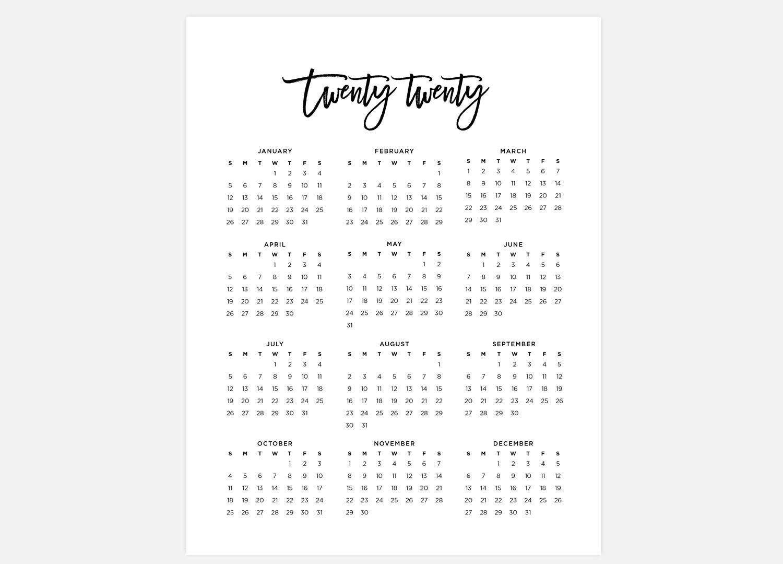 8.5X11 Printable 2020 Calendar Simple Calendar 2020 Year