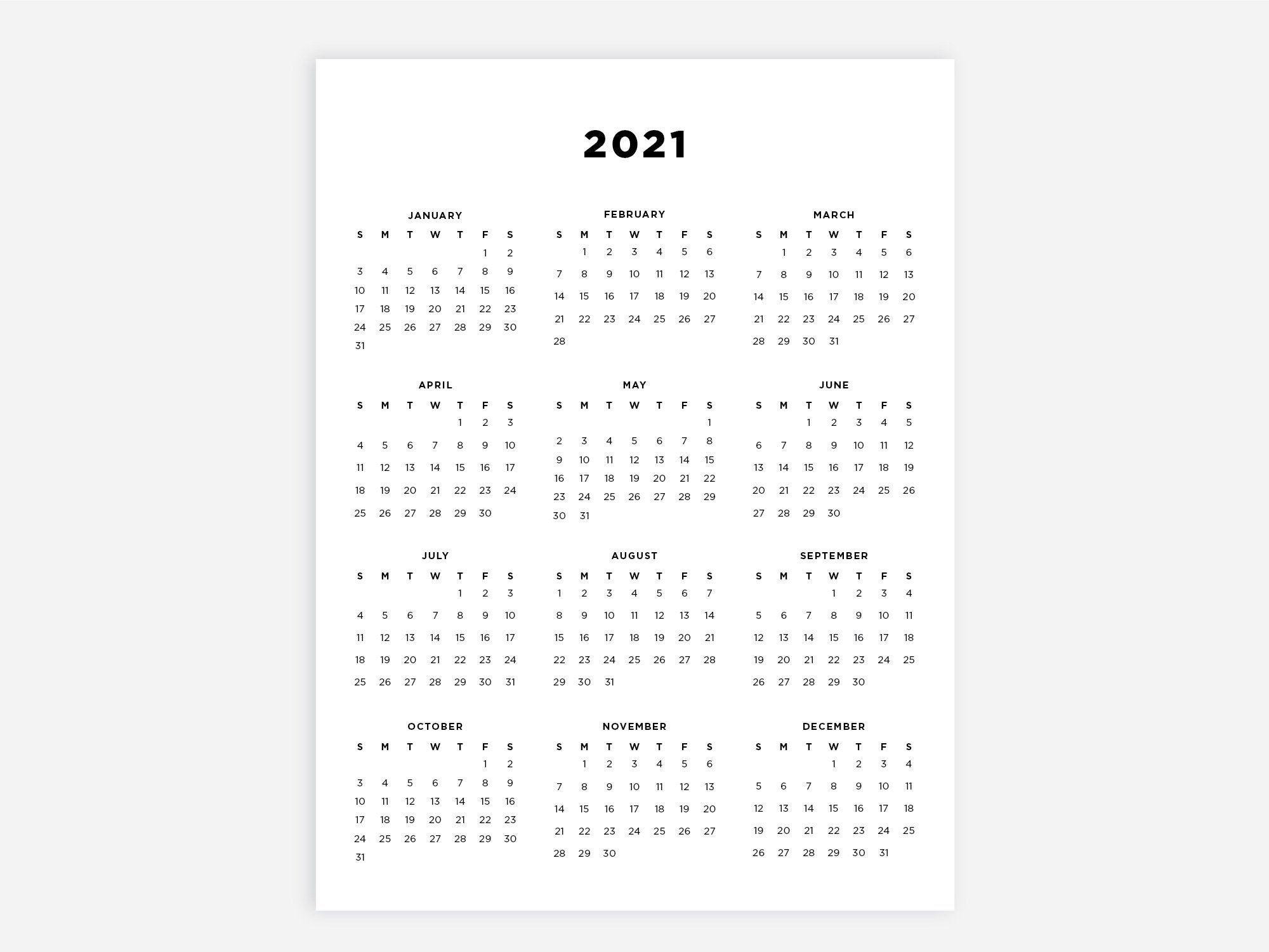 8.5X11 Printable Calendar 2021 Letter Calendar 2021 Year