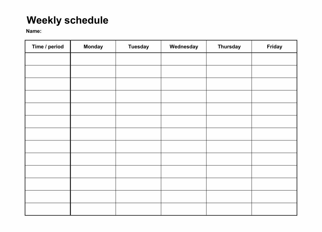 9 Best Monday Through Friday Planner Printable - Printablee