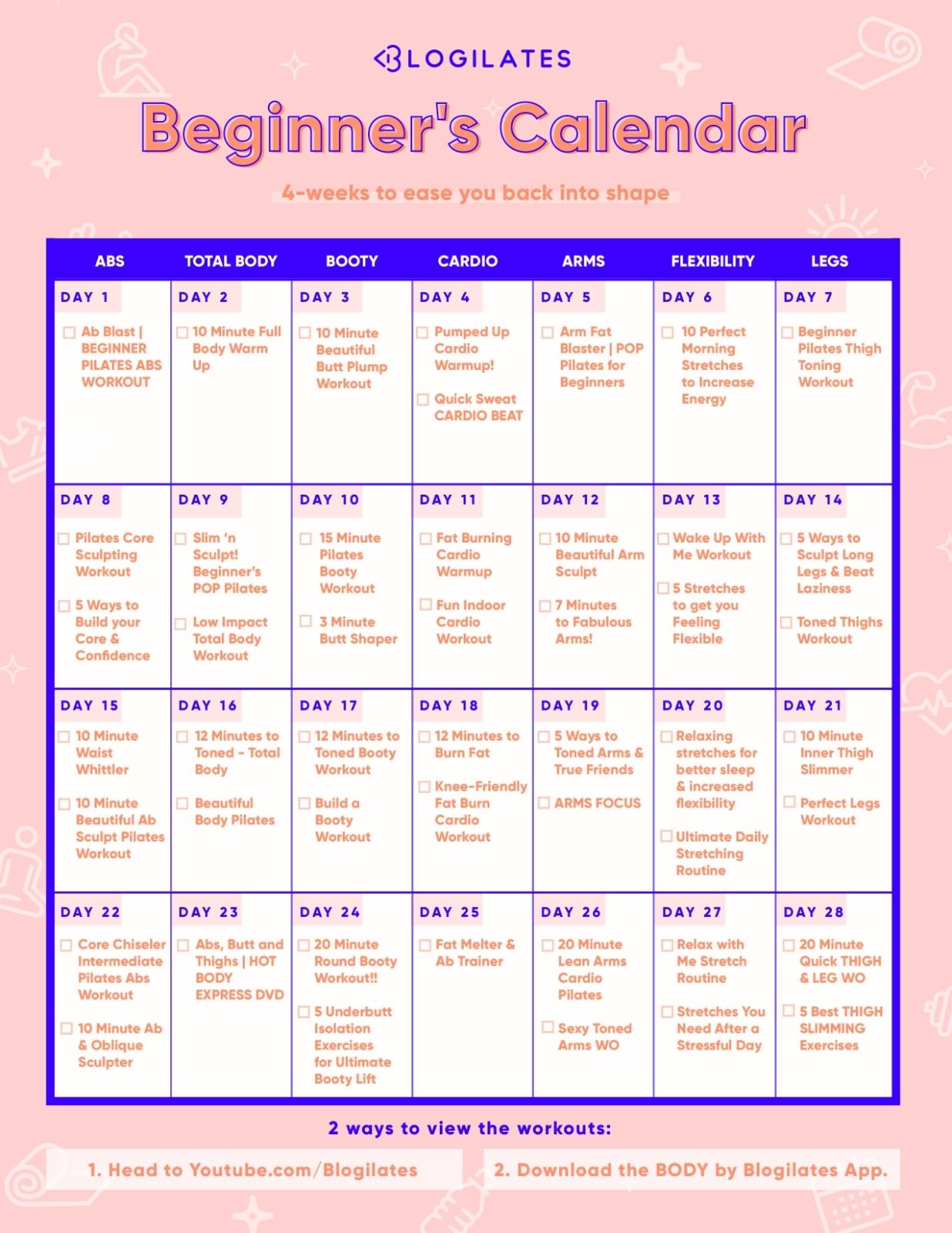 A 28-Day Workout Calendar For Beginners! – Blogilates