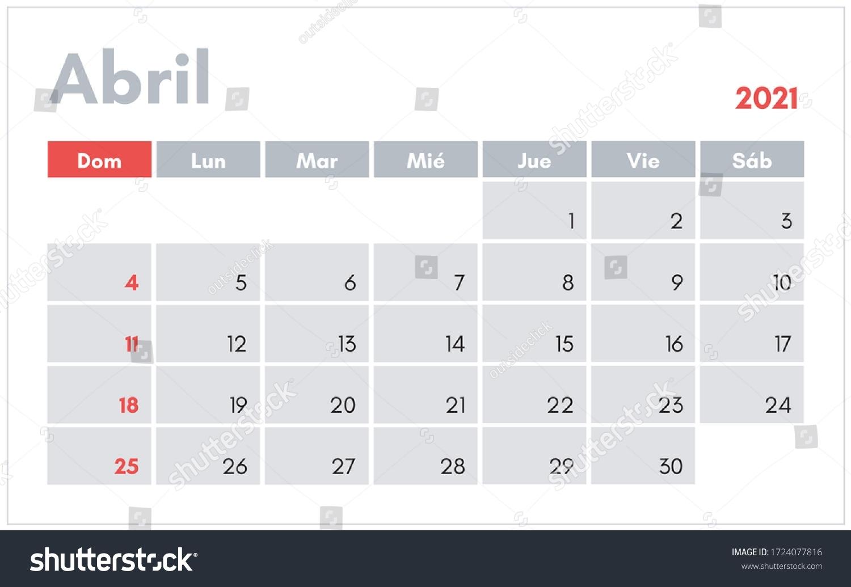 Abril 2021 Calendario En Espanol April Stock Vector (Royalty