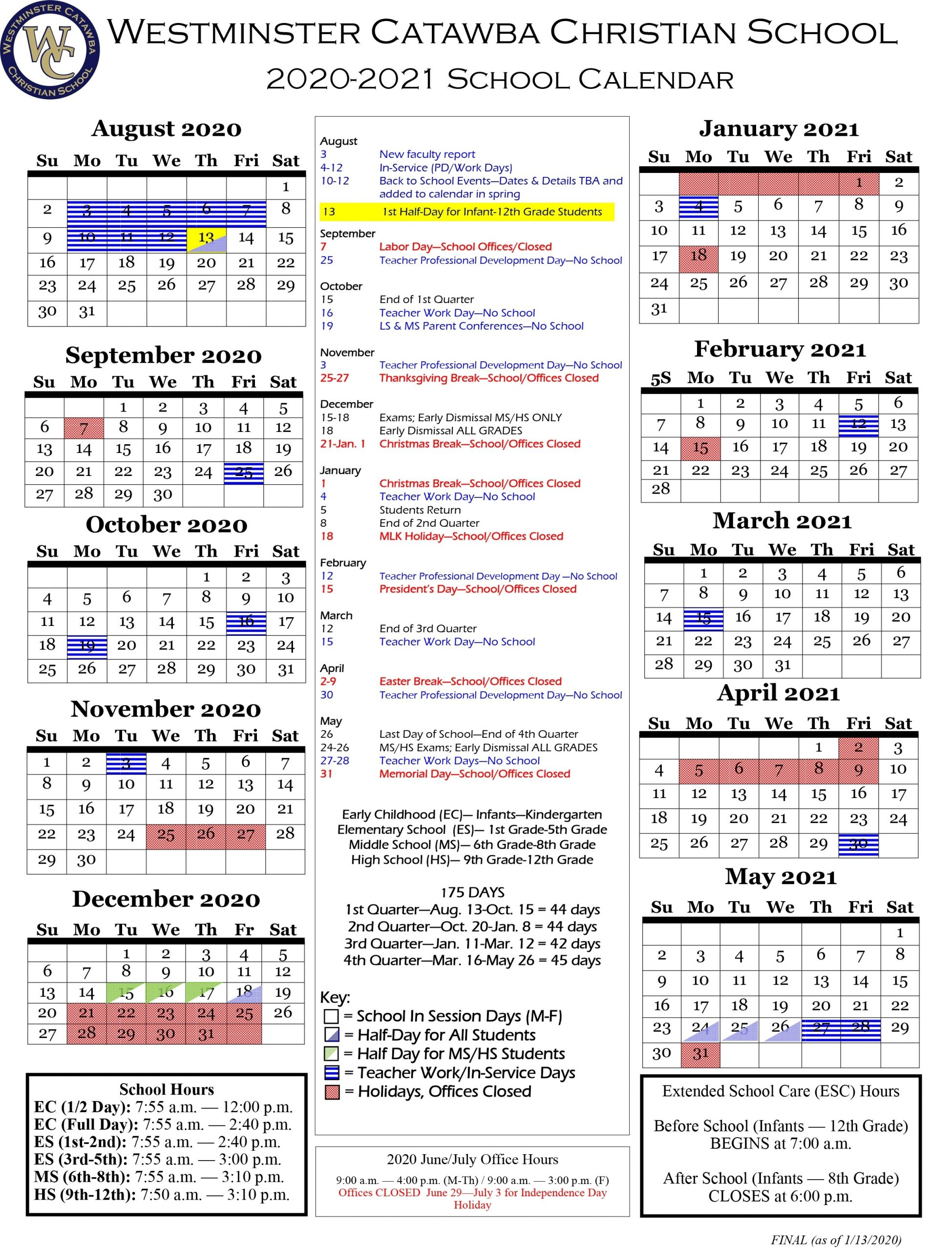 Academic Calendar - Westminster Catawba Christian School