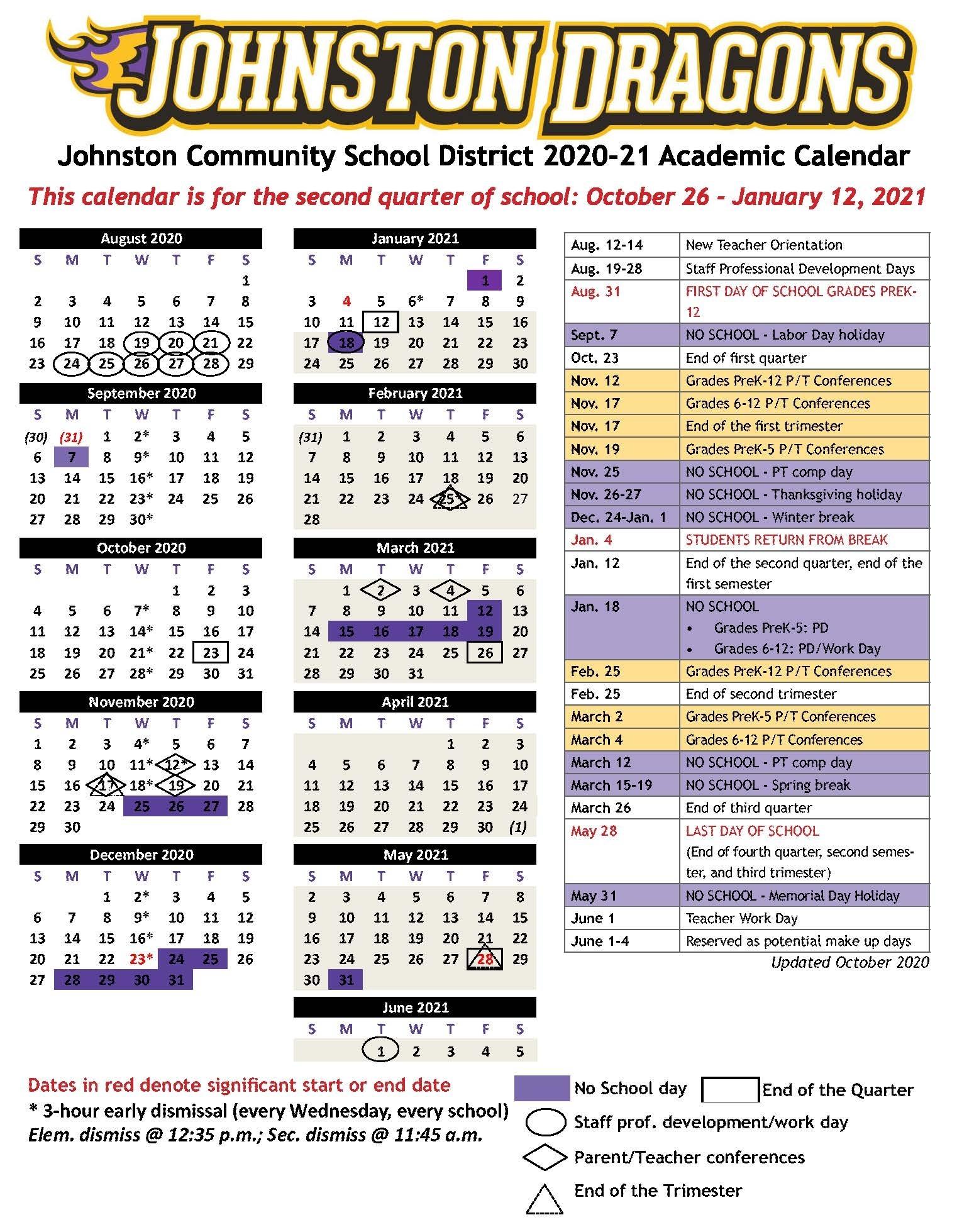 Academic Calendars - Johnston Community School District