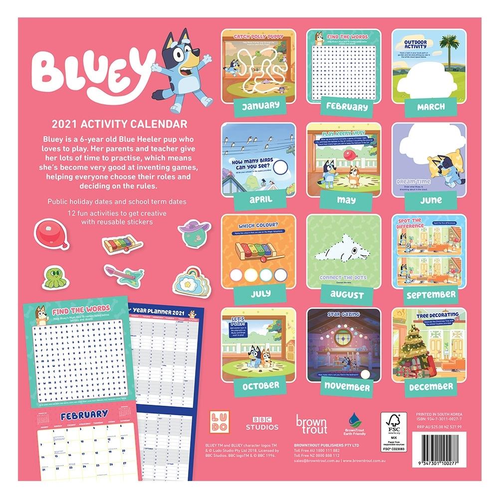 Activity Calendar 2021   Bluey Official Website