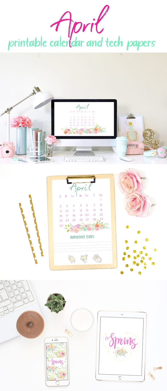 April 2018 Printable Calendar And Tech Papers