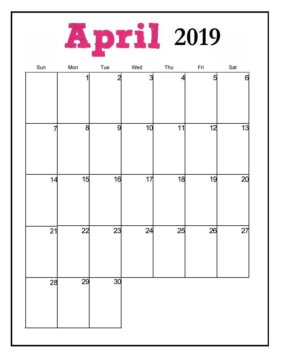 April 2019 Editable Calendar #April #April2019Calendar