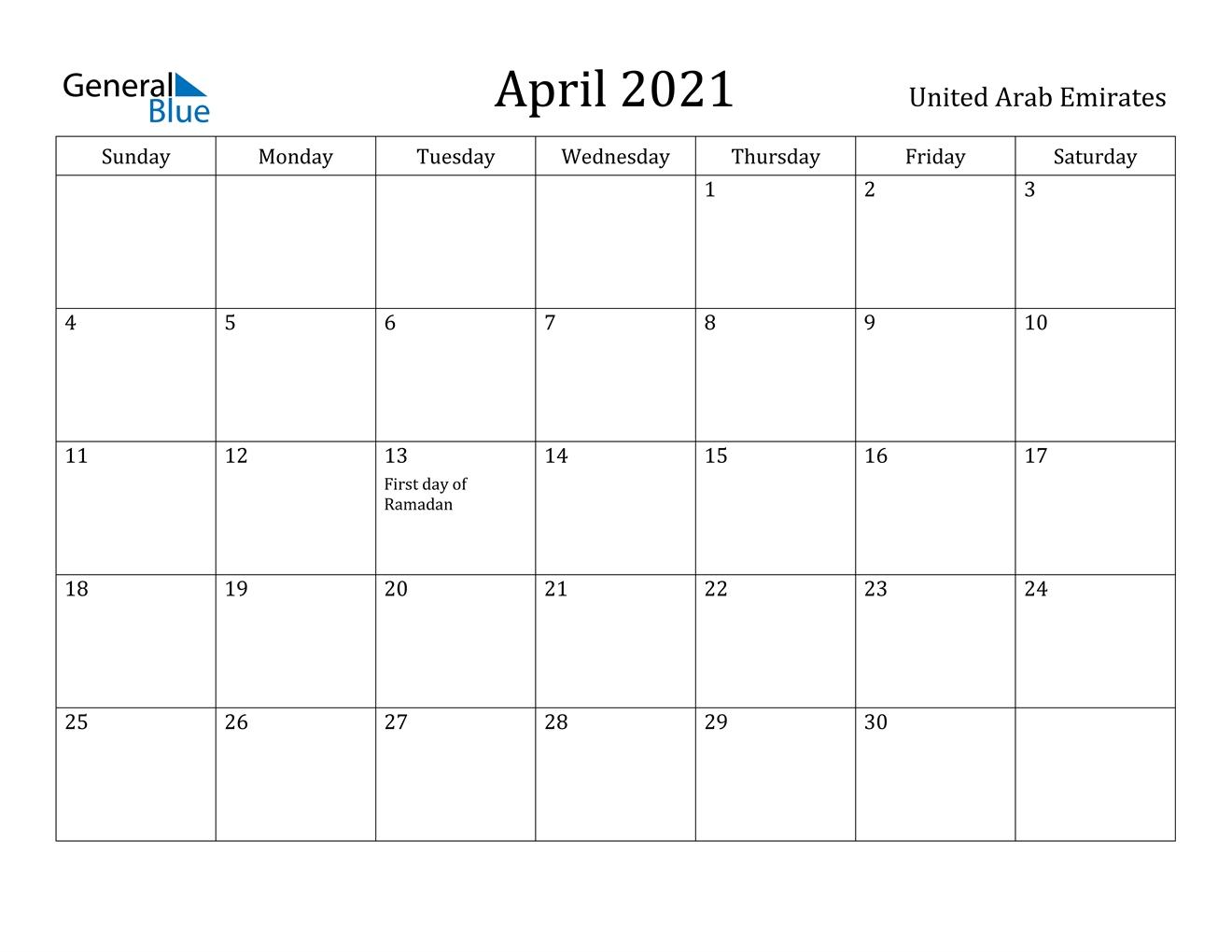 April 2021 Calendar - United Arab Emirates