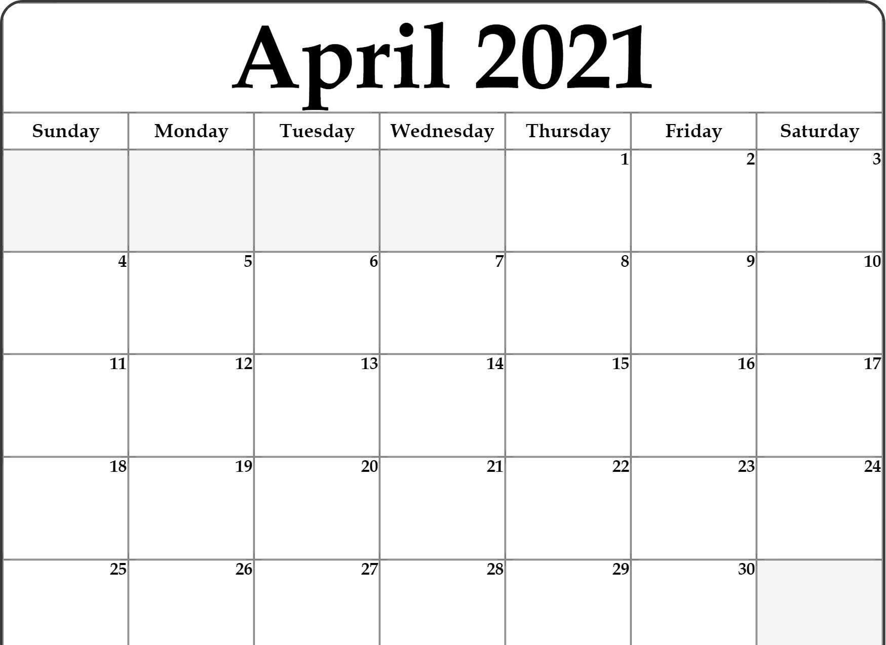 April 2021 Printable Calendar Pdf In 2020 | Calendar Word