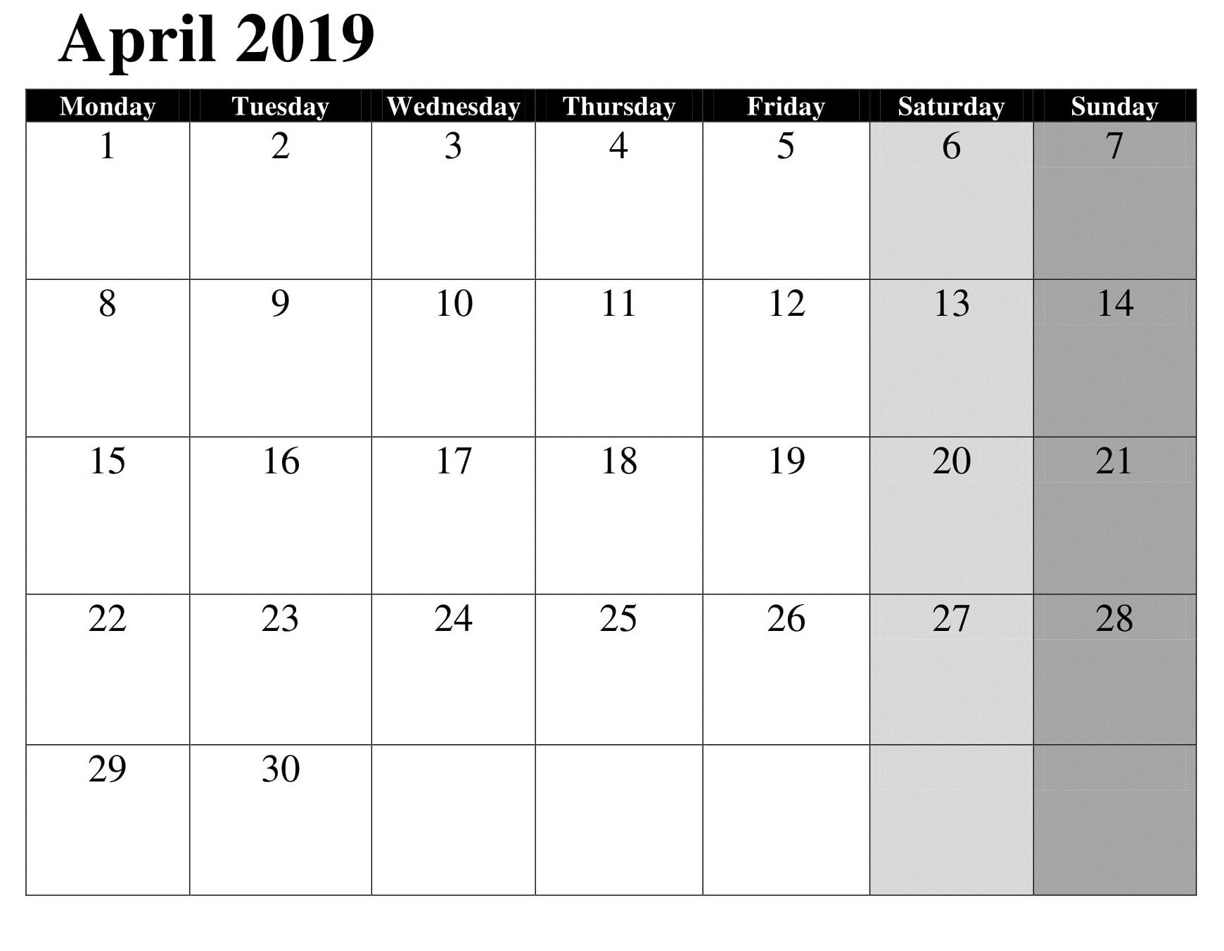 April Google Calendar Template 2019 | Daily Calendar