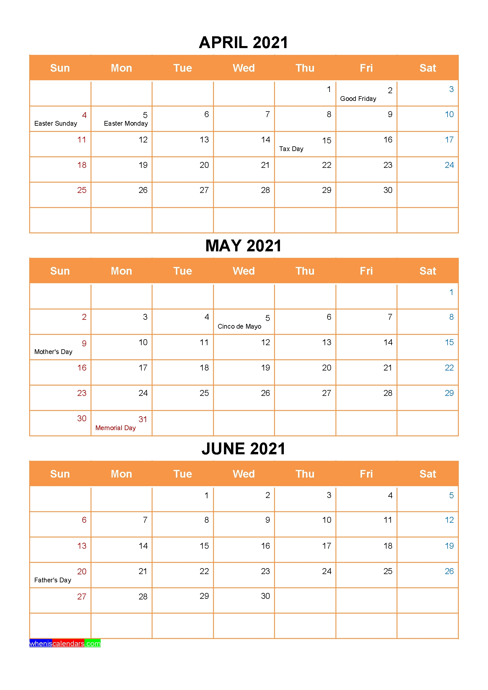April May June 2021 Calendar With Holidays Printable [Four