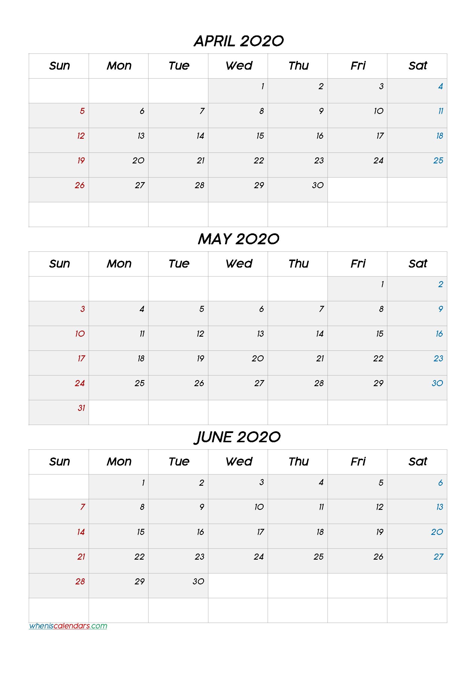 April May June 2021 Three Month Calendar-No.m21Cc6 – Free