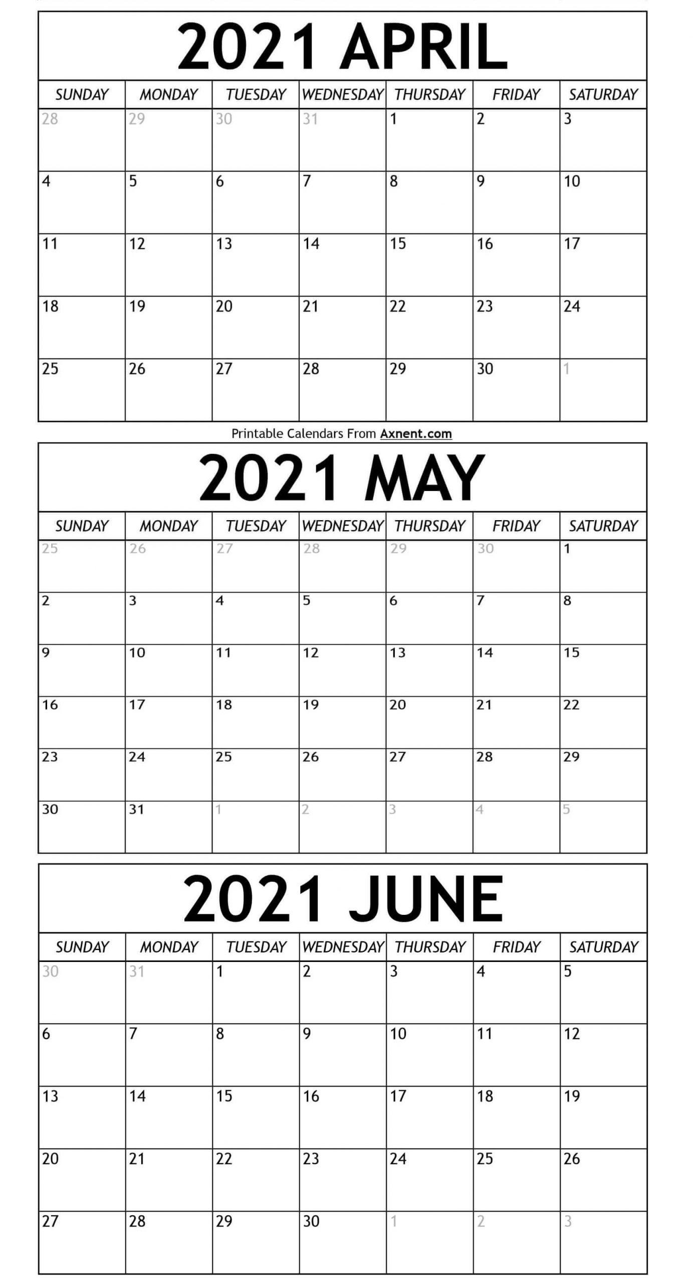April To June Calendar 2021 Templates - Time Management