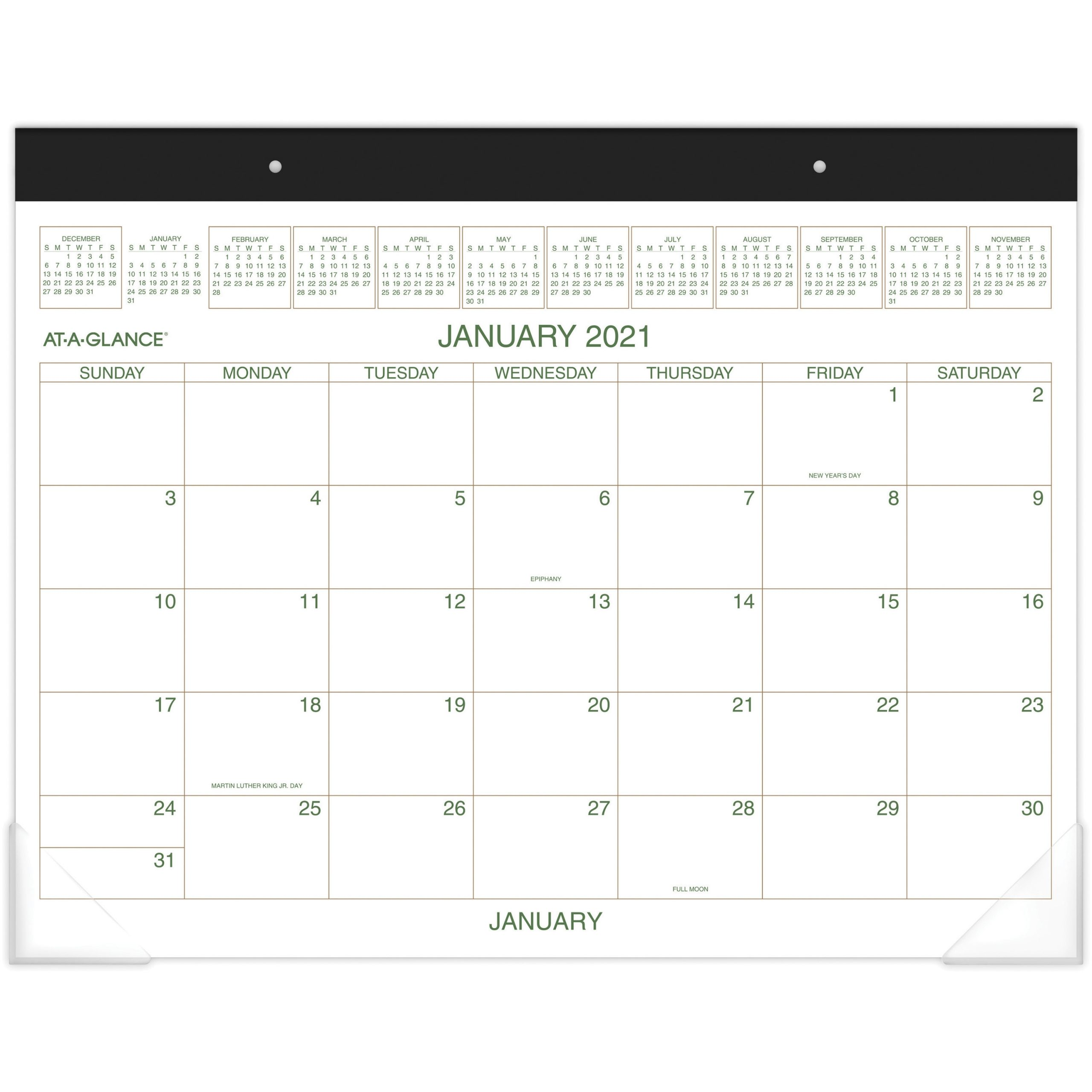 "At-A-Glance Two-Color Monthly Desk Pad - Julian Dates - Monthly - 1 Year -  January 2021 Till December 2021 - 1 Month Single Page Layout - 22"" X 17"""