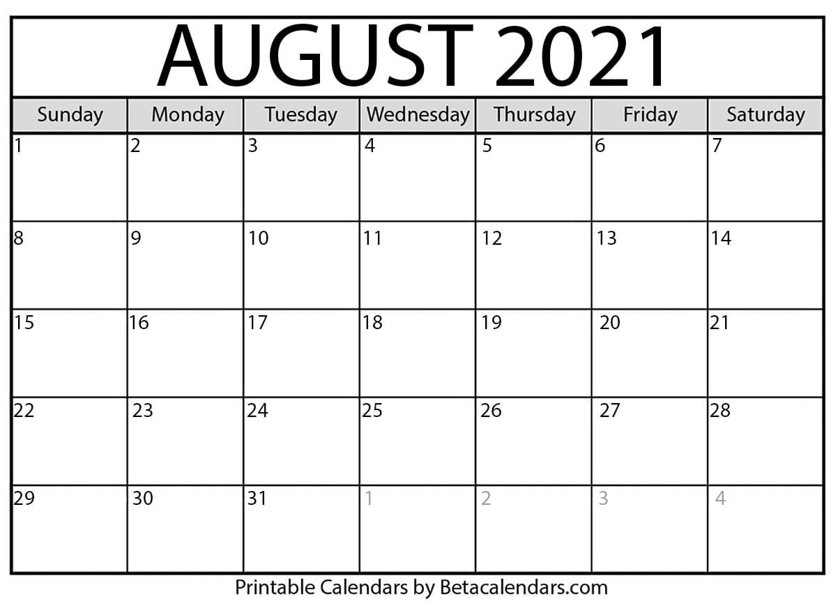 August 2021 Calendar | Blank Printable Monthly Calendars