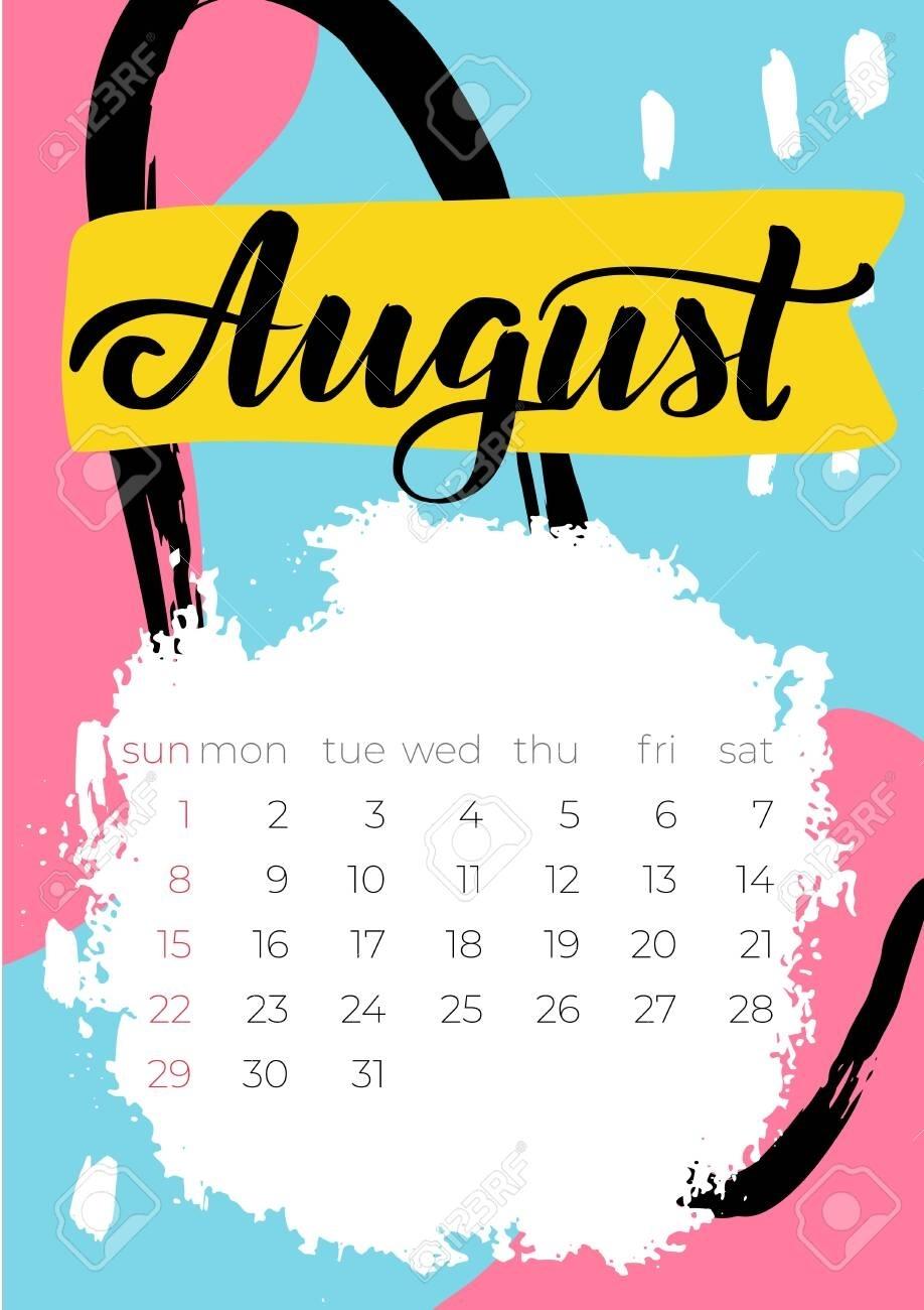 August 2021 Calendar. Editable Template. Wall Calendar Planner
