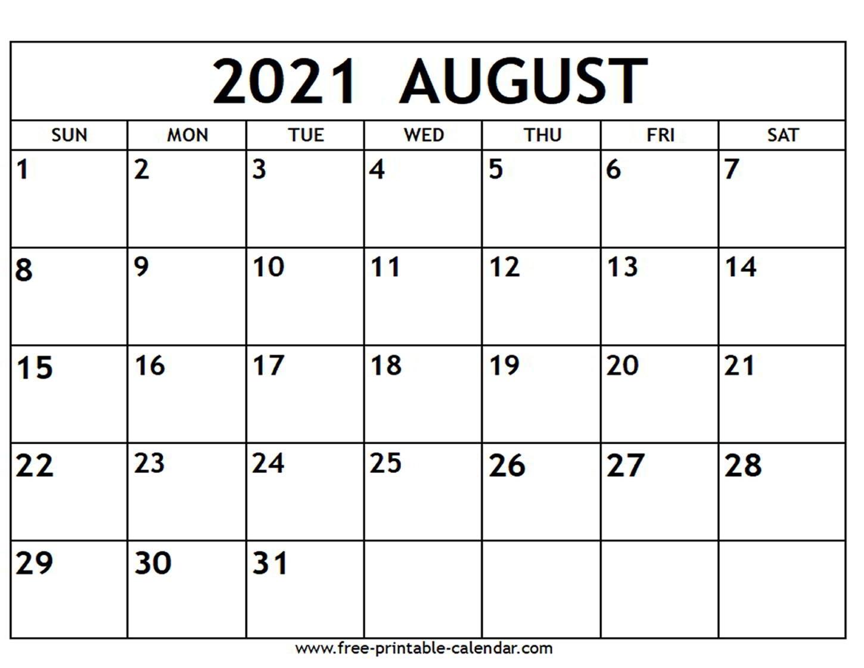 August 2021 Calendar - Free-Printable-Calendar