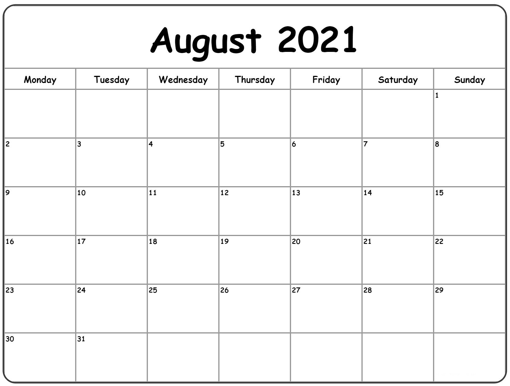 August 2021 Calendar New Excel Word Pdf Template |