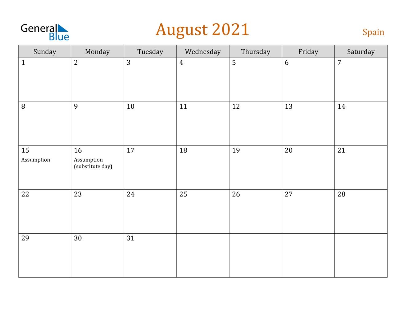 August 2021 Calendar - Spain
