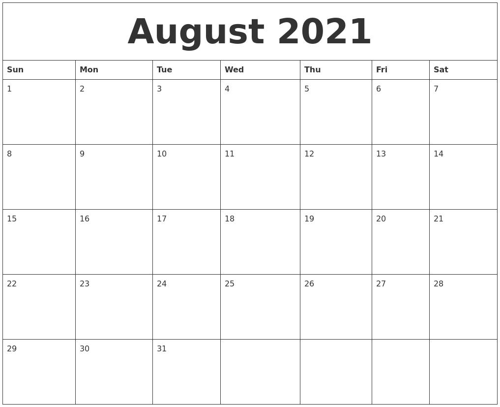 2021 August Editable Template
