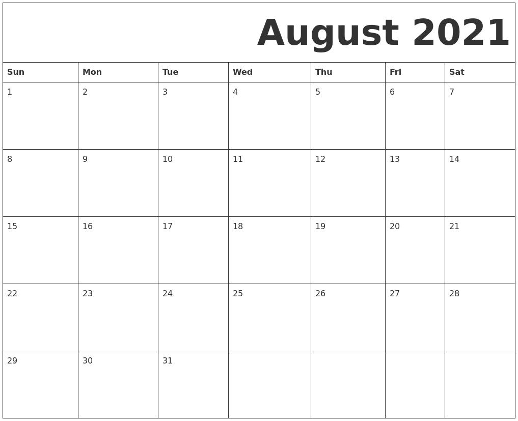 August 2021 Free Printable Calendar