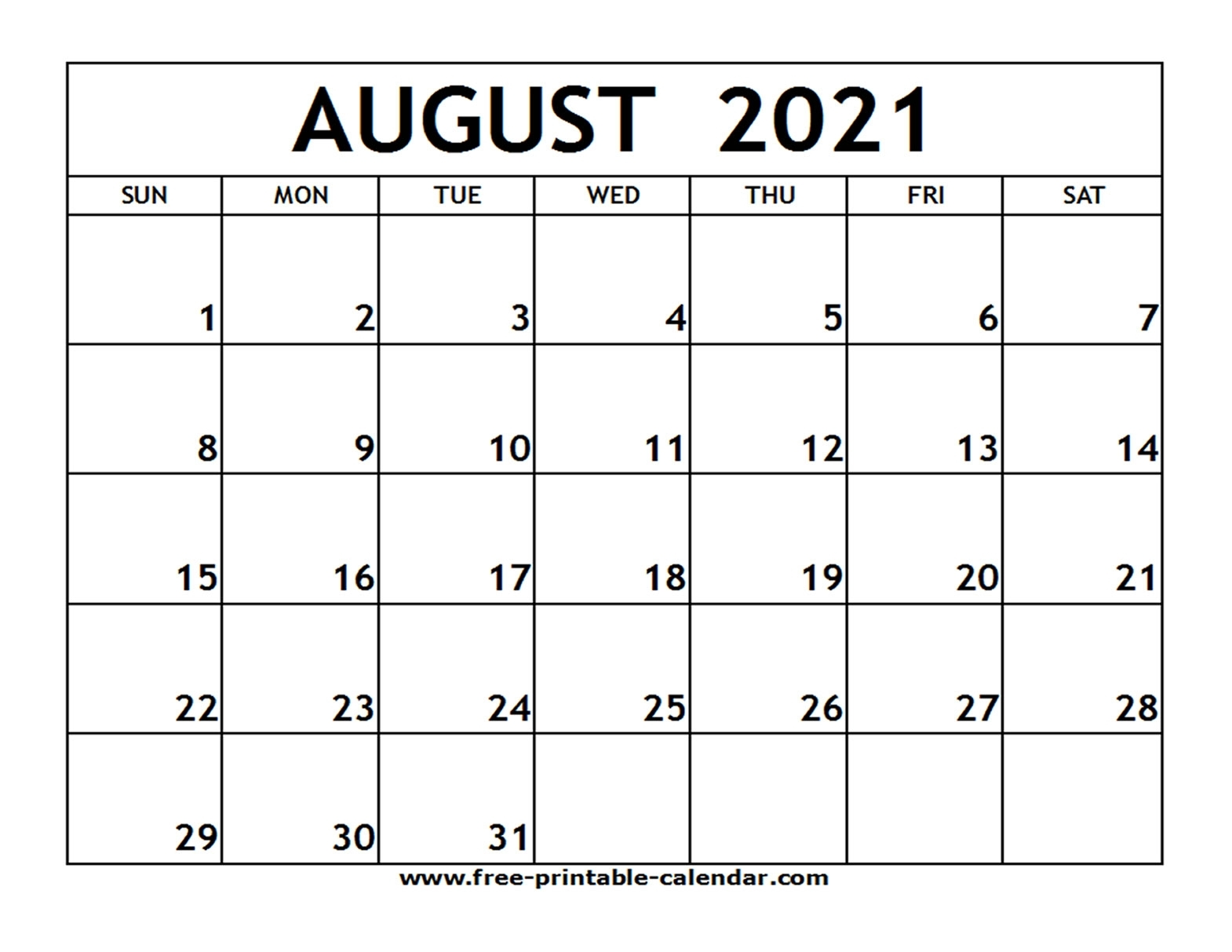 August 2021 Printable Calendar - Free-Printable-Calendar