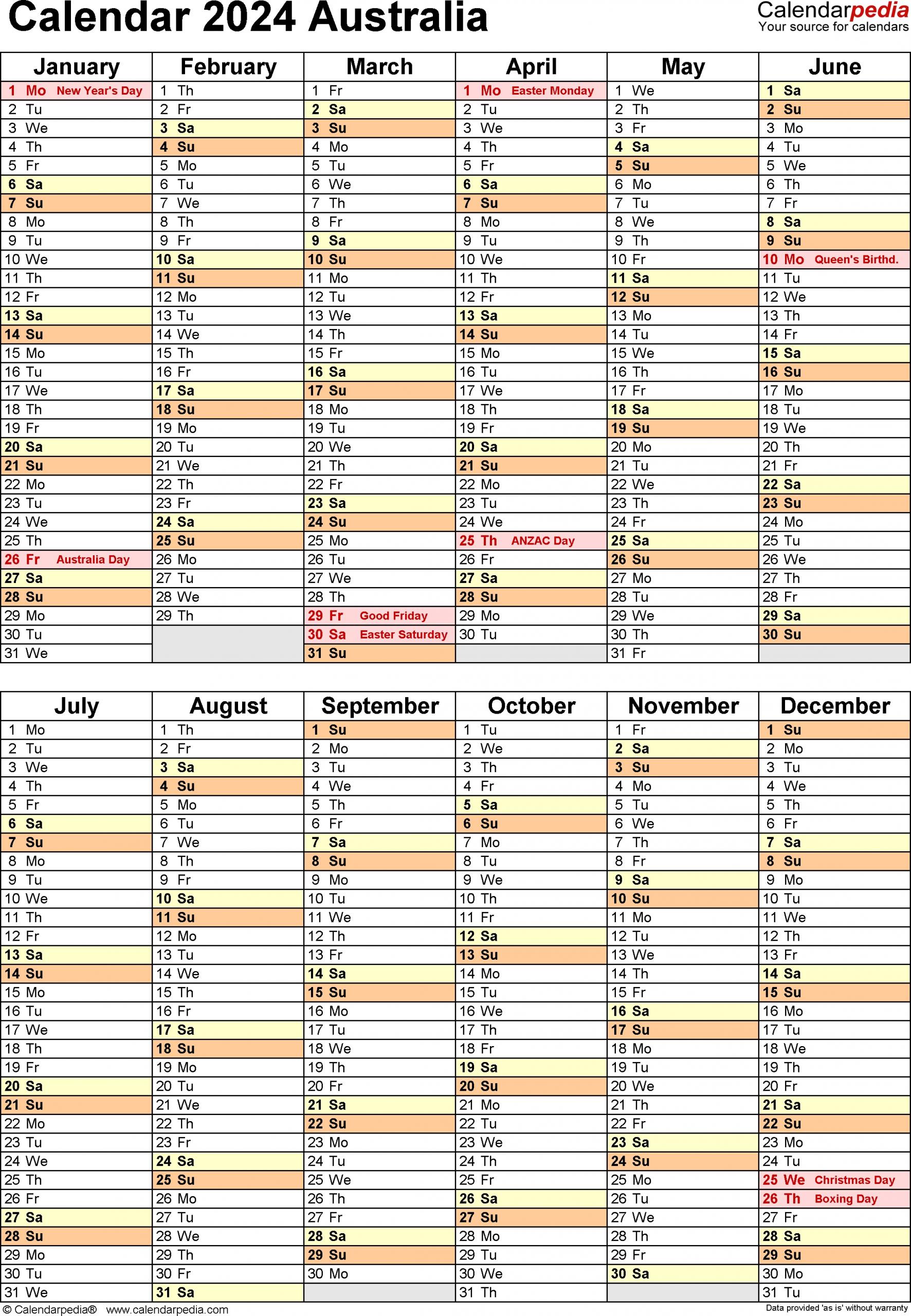 Australia Calendar 2024 - Free Printable Pdf Templates