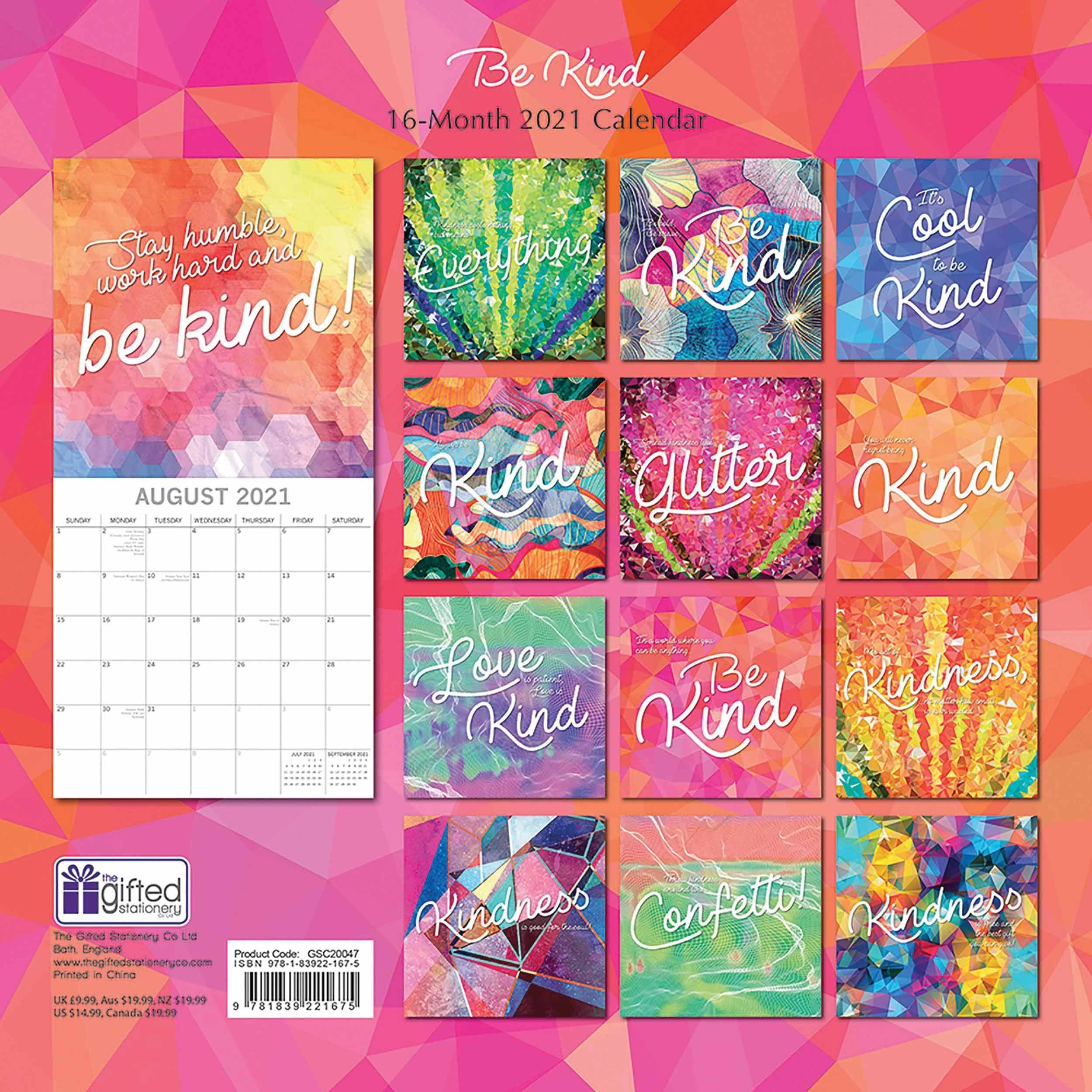 Be Kind Calendar 2021 At Calendar Club