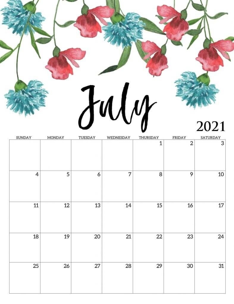 Beautiful July 2021 Calendar In 2020 | Calendar Printables