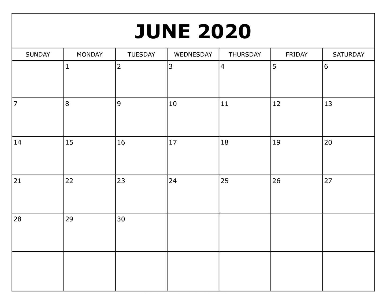Best June 2020 Printable Calendar Templates - Download Now