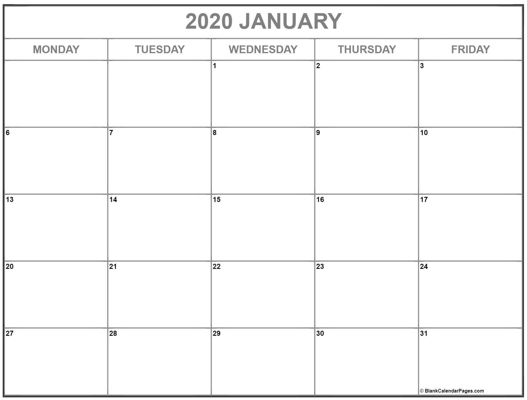 Best Monday Thru Friday Calendsr In 2020 | Calendar